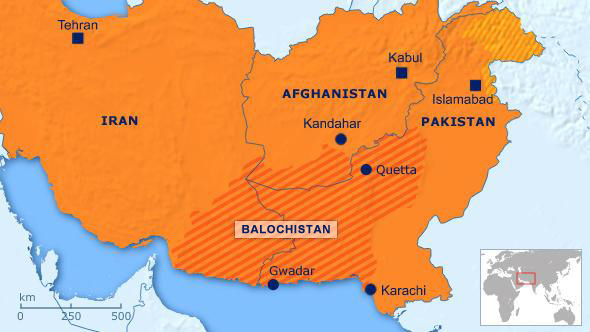 Map showing Balochistan location relative to Iran, Afghanistan and Pakistan